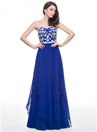 A-Line/Princess Sweetheart Floor-Length Chiffon Charmeuse Lace Prom Dress With Cascading Ruffles