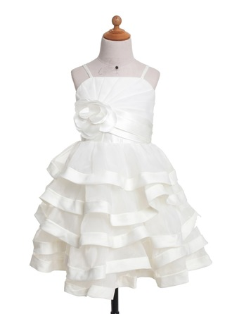 A-Line/Princess Knee-Length Satin Flower Girl Dress With Ruffle Flower(s)