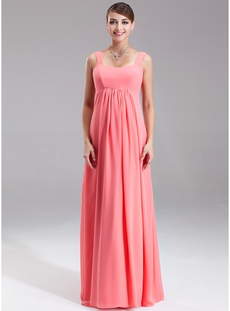 Empire Scoop Neck Floor-Length Chiffon Chiffon Maternity Bridesmaid Dress With Ruffle