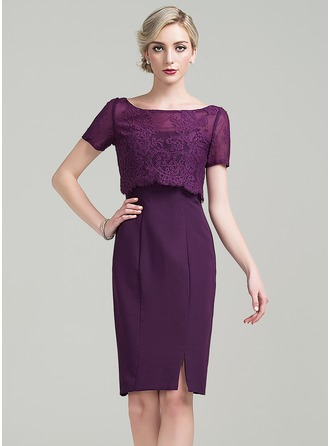 Sheath/Column Scoop Neck Knee-Length Chiffon Mother of the Bride Dress With Split Front