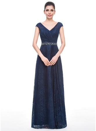 A-Line/Princess V-neck Floor-Length Lace Mother of the Bride Dress With Ruffle Beading Sequins