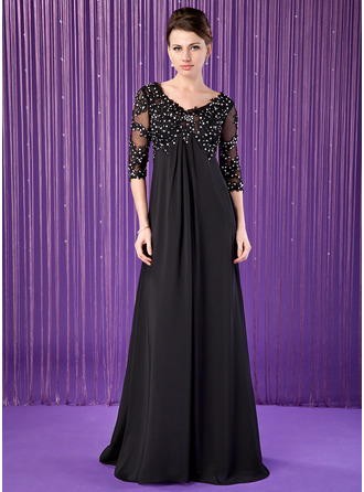 Empire V-neck Sweep Train Chiffon Tulle Mother of the Bride Dress With Lace Beading