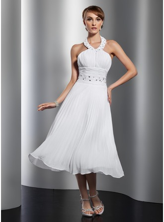 A-Line/Princess Halter Tea-Length Chiffon Homecoming Dress With Beading Pleated