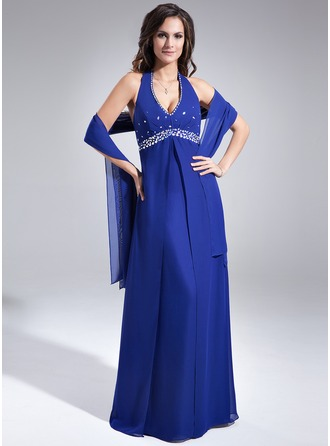 A-Line/Princess Halter Floor-Length Chiffon Mother of the Bride Dress With Ruffle Beading