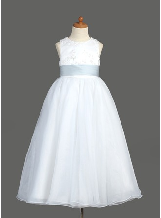 A-Line/Princess Scoop Neck Ankle-Length Organza Flower Girl Dress With Lace Sash