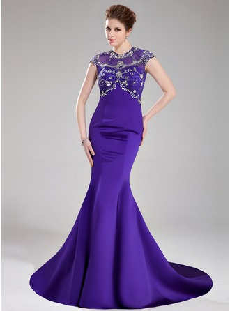 Trumpet/Mermaid Scoop Neck Court Train Satin Prom Dress With Beading Sequins