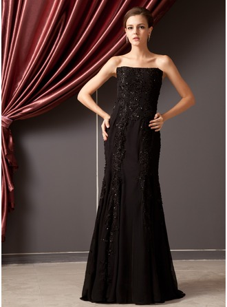 Trumpet/Mermaid Strapless Floor-Length Chiffon Evening Dress With Beading Appliques Lace Sequins