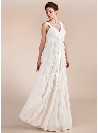 Empire Sweetheart Floor-Length Chiffon Wedding Dress With Bow(s) Cascading Ruffles