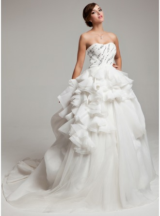 Ball-Gown Sweetheart Court Train Organza Satin Lace Wedding Dress With Beading Cascading Ruffles