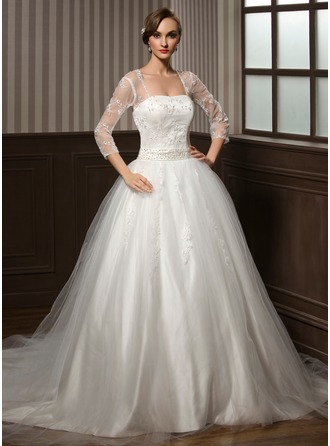 Ball-Gown Sweetheart Chapel Train Tulle Wedding Dress With Lace Beading Sequins