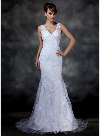Trumpet/Mermaid V-neck Court Train Satin Tulle Wedding Dress With Lace