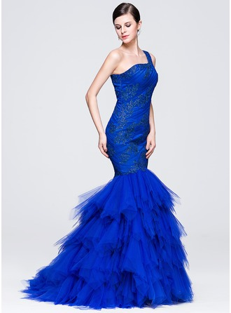 Trumpet/Mermaid One-Shoulder Court Train Tulle Evening Dress With Ruffle Appliques Lace