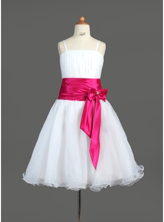 A-Line/Princess Knee-Length Organza Charmeuse Flower Girl Dress With Ruffle Sash Beading Bow(s)