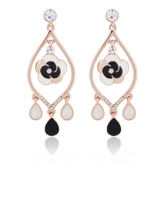 Beautiful Alloy Gold Plated Coloured Glaze With Rhinestone Ladies' Fashion Earrings