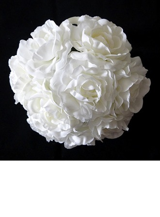 Pure White Round Satin Bridal Bouquets