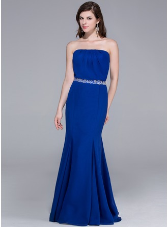 Trumpet/Mermaid Strapless Floor-Length Chiffon Evening Dress With Ruffle Beading