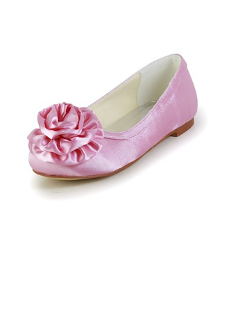 Kids' Satin Flat Heel Closed Toe Flats With Satin Flower