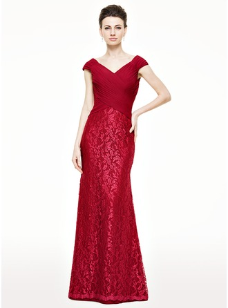 Trumpet/Mermaid V-neck Floor-Length Chiffon Lace Mother of the Bride Dress With Ruffle