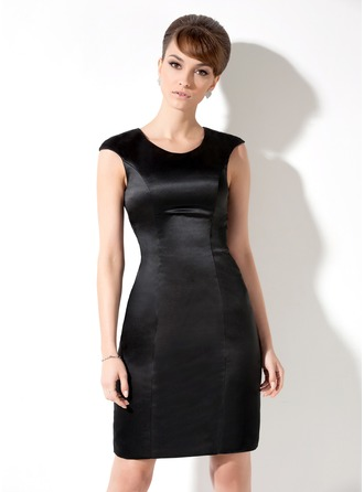 Sheath/Column Scoop Neck Knee-Length Satin Cocktail Dress