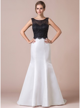 Trumpet/Mermaid Scoop Neck Sweep Train Satin Tulle Lace Evening Dress With Beading Sequins Bow(s)