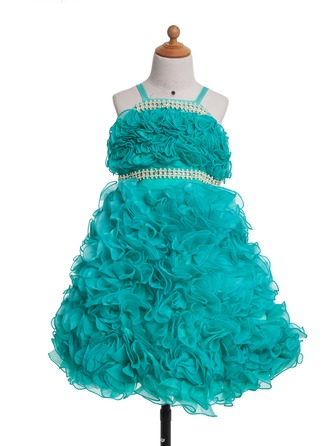 A-Line/Princess Tea-Length Satin Flower Girl Dress With Bow(s) Pleated