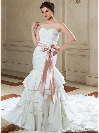 Trumpet/Mermaid Sweetheart Cathedral Train Taffeta Wedding Dress With Sash Bow(s) Cascading Ruffles
