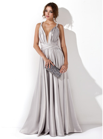 A-Line/Princess V-neck Floor-Length Charmeuse Evening Dress With Ruffle