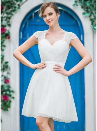 A-Line/Princess Sweetheart Knee-Length Tulle Wedding Dress With Ruffle