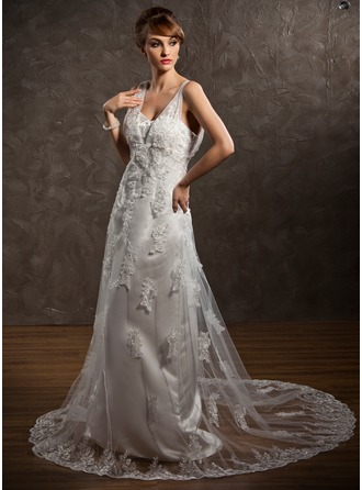 A-Line/Princess V-neck Court Train Satin Tulle Wedding Dress With Lace