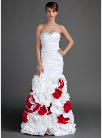 Trumpet/Mermaid Sweetheart Floor-Length Taffeta Prom Dress With Ruffle Beading Flower(s)