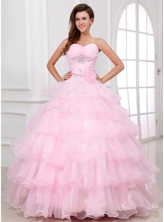 Corte de baile Escote corazón Vestido Organdí Vestido de quinceañera con Bordado Flores Cascada de volantes