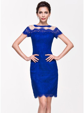 Sheath/Column Scoop Neck Knee-Length Tulle Lace Cocktail Dress