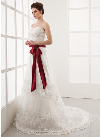 A-Line/Princess Sweetheart Chapel Train Satin Tulle Wedding Dress With Ruffle Lace Sash Bow(s)
