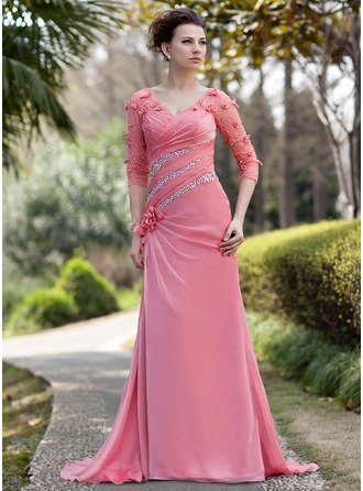 A-Line/Princess V-neck Sweep Train Chiffon Mother of the Bride Dress With Ruffle Beading Flower(s) Sequins