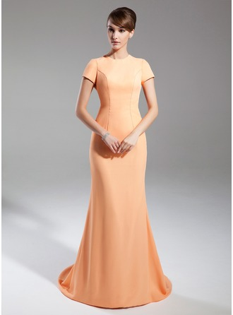 Trumpet/Mermaid Scoop Neck Court Train Chiffon Mother of the Bride Dress