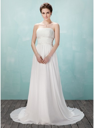 A-Line/Princess Strapless Court Train Chiffon Evening Dress With Ruffle Beading Appliques Lace