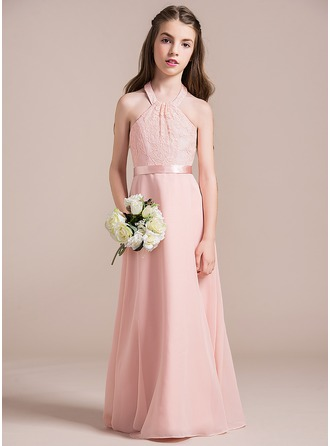 A-Line/Princess Halter Floor-Length Chiffon Lace Junior Bridesmaid Dress