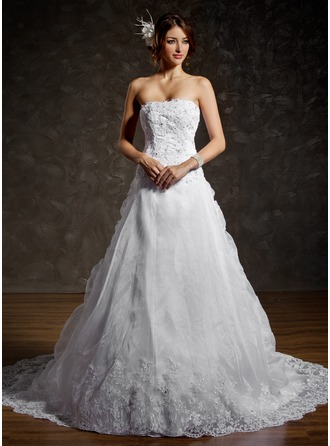 Ball-Gown Strapless Chapel Train Organza Satin Wedding Dress With Ruffle Lace Beading