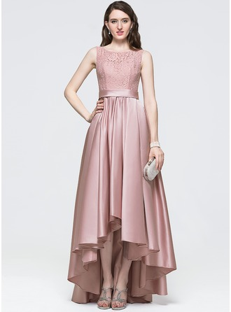 A-Line/Princess Scoop Neck Asymmetrical Satin Prom Dress With Bow(s)