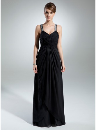 A-Line/Princess Sweetheart Floor-Length Chiffon Mother of the Bride Dress With Ruffle Beading Split Front