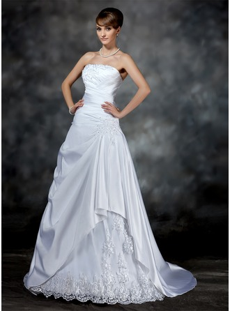 A-Line/Princess Strapless Court Train Satin Wedding Dress With Ruffle Beading Appliques Lace