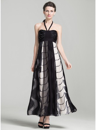 Empire Halter Ankle-Length Chiffon Holiday Dress With Lace Beading Bow(s)