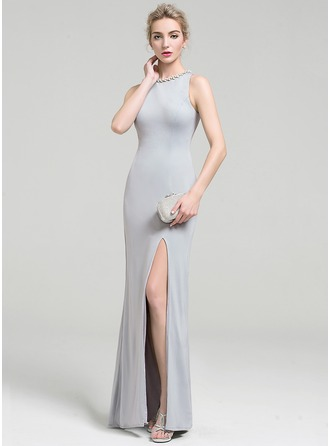 Sheath/Column Scoop Neck Floor-Length Jersey Evening Dress With Beading Sequins Split Front