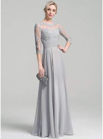 A-Line/Princess Scoop Neck Floor-Length Chiffon Evening Dress With Embroidered Ruffle