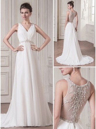 A-Line/Princess V-neck Court Train Chiffon Tulle Wedding Dress With Ruffle Lace Beading Sequins