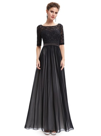 Lace/Satin/Tulle/Silk Blend With Lace/Ruffles Maxi Dress