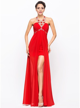 A-Line/Princess Halter Asymmetrical Chiffon Tulle Prom Dress With Ruffle Beading Sequins