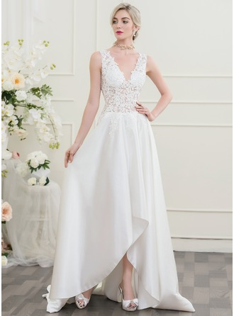 A-Line/Princess V-neck Asymmetrical Wedding Dress