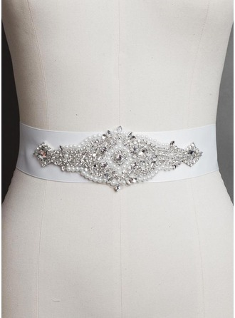 Attractive Women Satin With Rhinestones Imitation Pearls Sashes