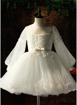 Ball Gown Knee-length Flower Girl Dress - Satin/Tulle/Lace Long Sleeves Scoop Neck With Flower(s)/Bow(s)